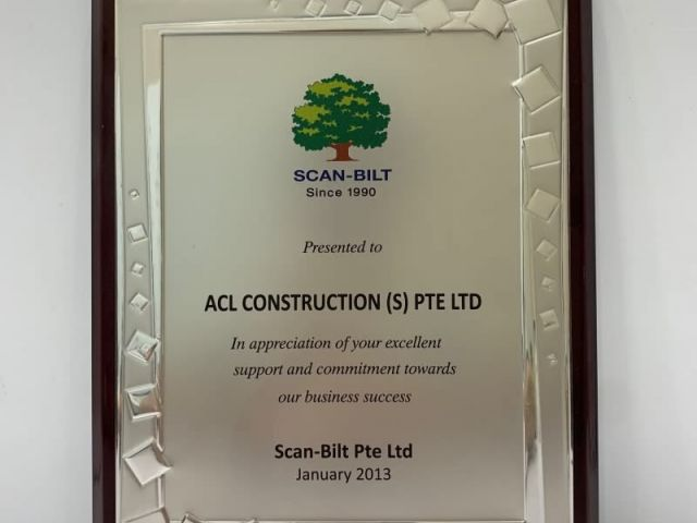 2013 Appreciation By SCAN BILT Acl Construction