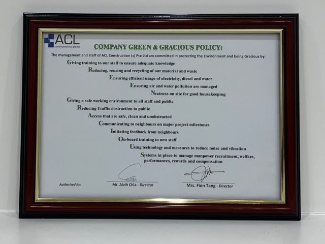 Company Green Gracious Policy Acl Construction